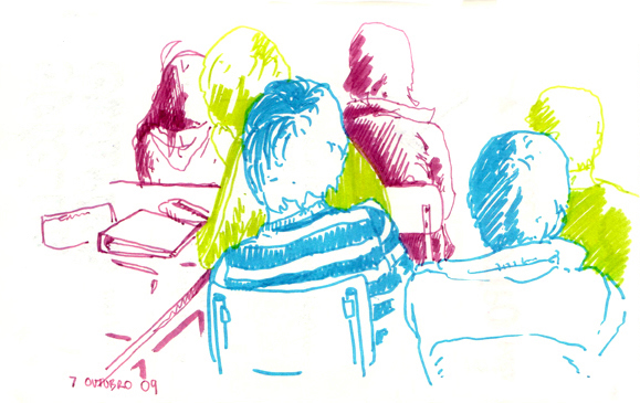sketch of audiovisual students, at class, watching a movie
