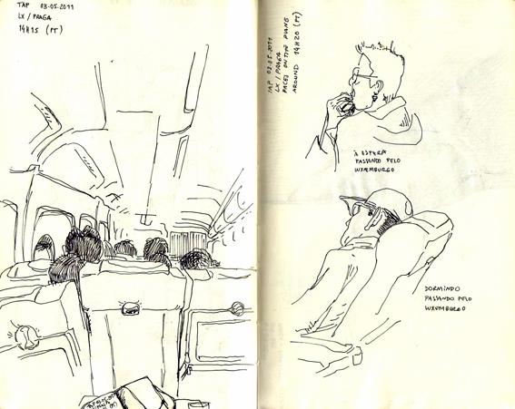 ana romao - inside airplane sketch - lisbon praga