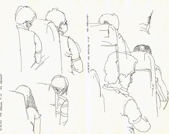 ana romao - inside airplane sketch - lisbon uk