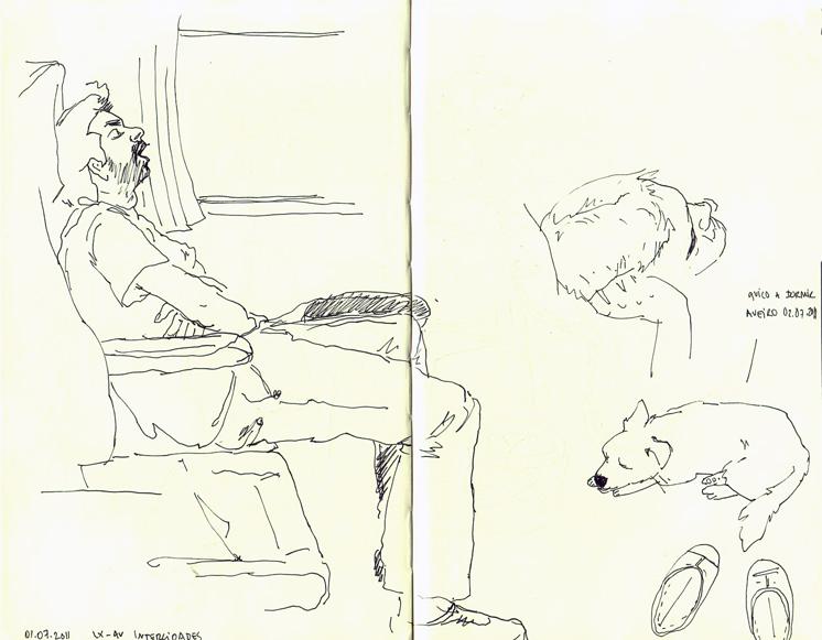 ana romao - men sleeping on the train and dog quico