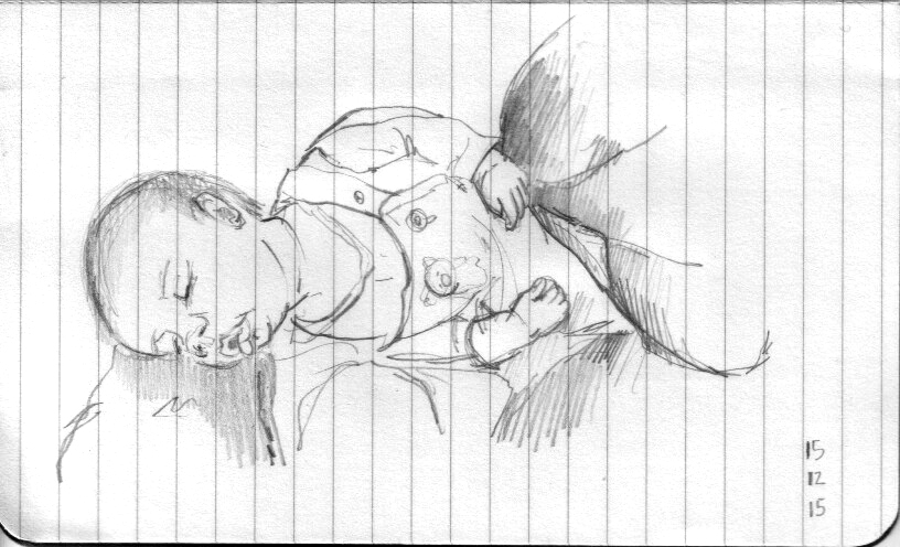 ana romao - sketch of my baby salvador sleeping on my lap