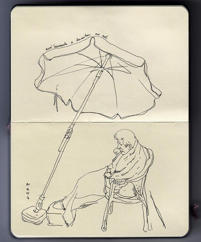 sketch of my grandmother fernanda sleeping outside
