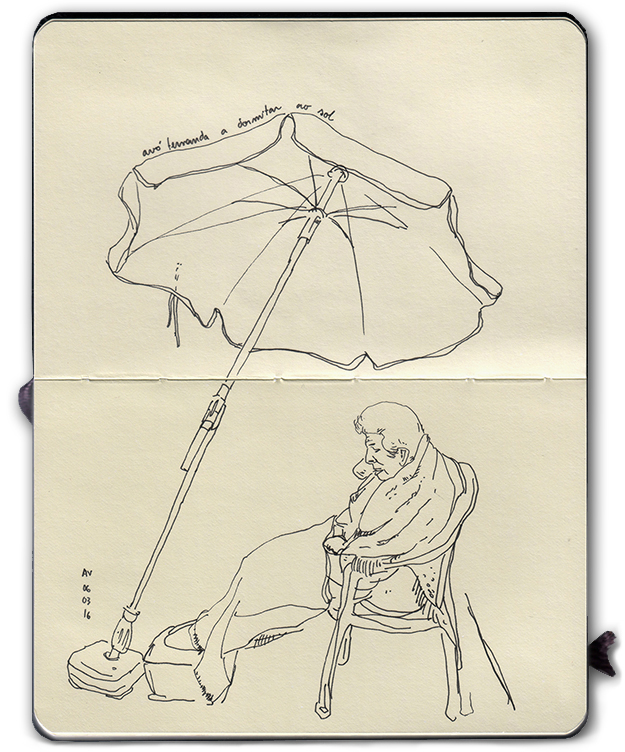 ana romao - sketch of grandmother fernanda sleeping outside