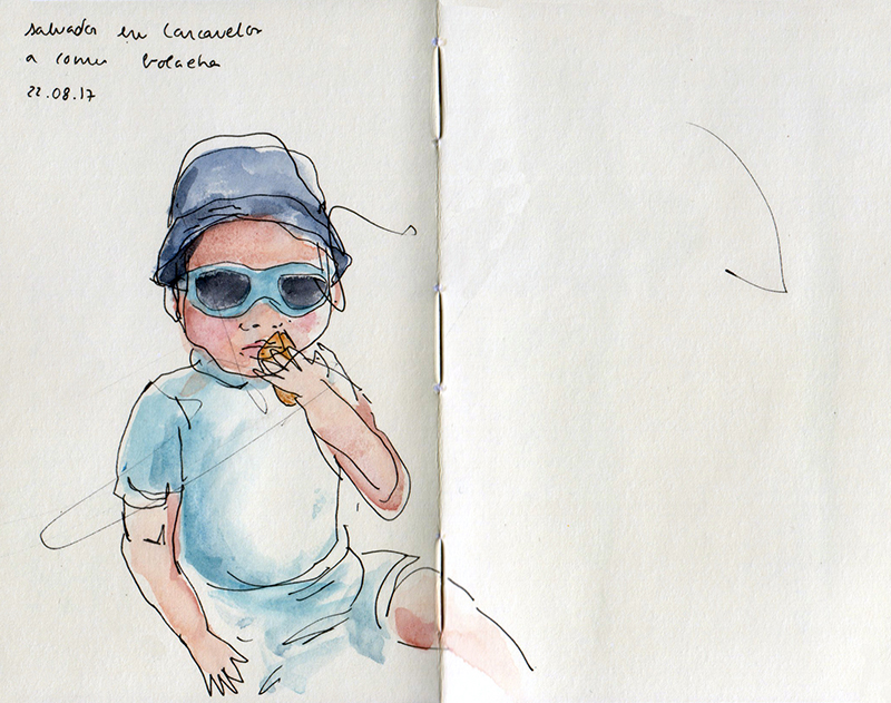 ana romao - sketch of baby salvador at the beach