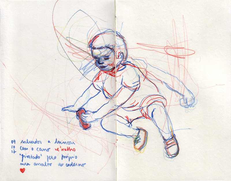ana romao - sketch of baby salvador playing with a red car - mommy drew and baby salvador painted