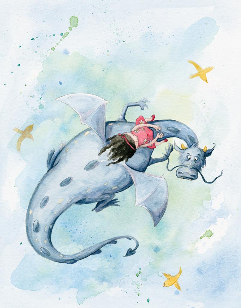 Nas Asas de um Sonho _ Little girl called Matilde flies in the back of a dragon called Indigo