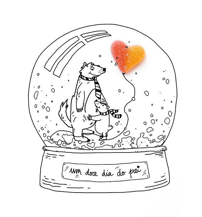 Project Gummies Photoillustration _ Bear family, father and son inside a snow globe