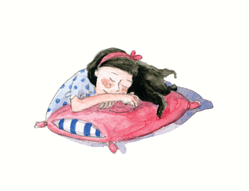 Nas Asas de um Sonho _ Little girl called Matilde sleeping with pink pillow
