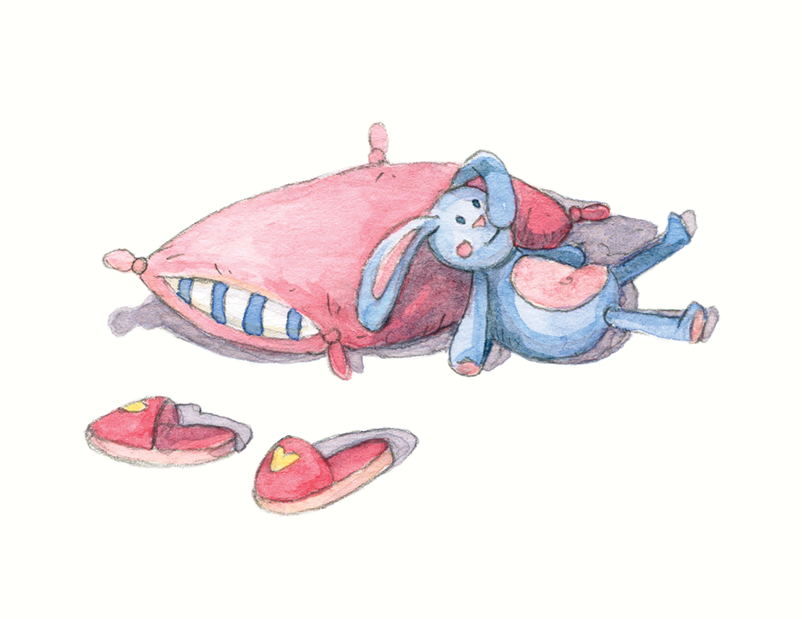 Nas Asas de um Sonho _ Pink pillow and bedroom slippers and stuffed rabbit toy