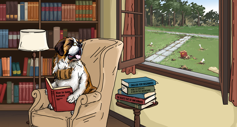 A Saint Bernard dog, with glasses on and comfortably seatted in a library couch, holds a book