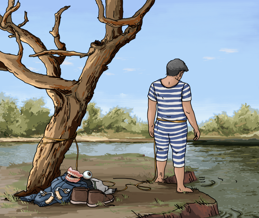 A man, dressed in a vintage bathing suit, stands at the water's edge with a rope tied around his waist and the other end of the rope tied to a tree; on the floor are his strange belongings