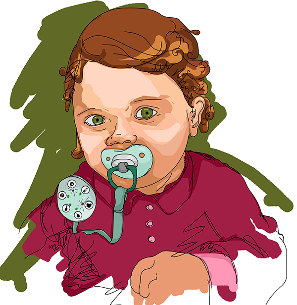 ana romao _ illustration of a small baby with a ultra inovative pacifier able to tell what the baby is feeling