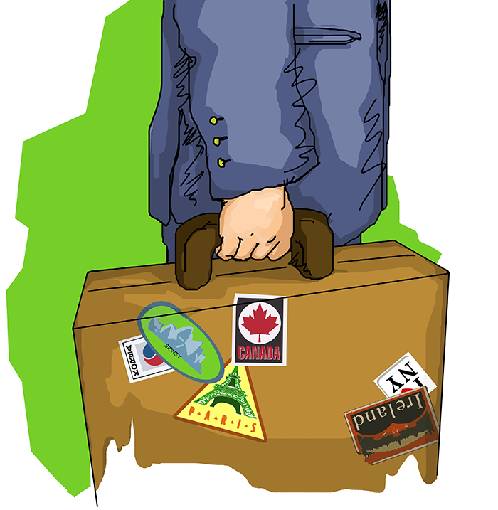 ana romao - illustration inovar.te magazine _ global worker - working and travel worldwide _ man holding a briefcase