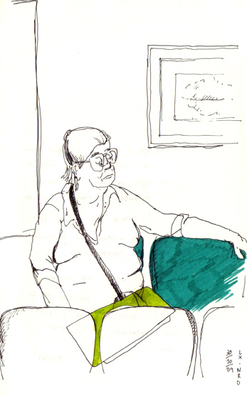 sketch of a woman in a waiting room