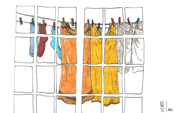 sketch of hanging clothes seen through window made with pen and marker