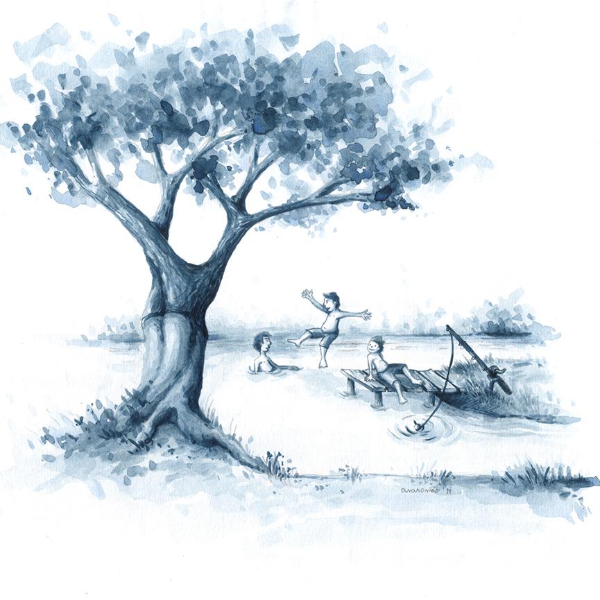 ana romao - illustration for the story Um Lago no Quintal 2019